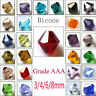 Wholesale 3mm/4mm/6mm/8mm Bicone Faceted Crystal Glass Loose Spacer Beads @^