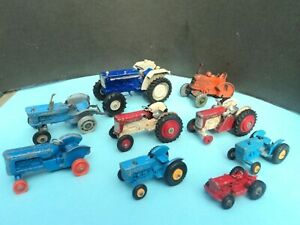 CORGI, BRITAINS, DINKY, MATCHBOX FARM TRACTOR JOBLOT x 9 - RESTORATION OR SPARES