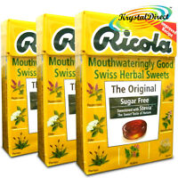 3x Ricola The ORIGINAL Swiss Herbal Drops Lozenges With Stevia Sugar Free 45g