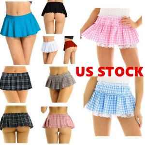 US Sissy Mens Womens Lingerie Frilly Lace Short Skirt  Underwear Panties Dress