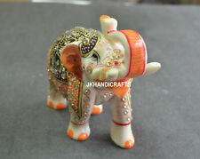 "3"" Alabaster Natural Marble Hand Painted Elephant Sculpture Home Decor Gifts"