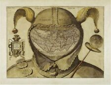Beautiful Illustrated Old World Map `the fool's map' CANVAS PRINT Antique A4