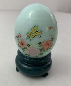 AVON Milk Glass Aqua Egg Butterfly Flowers on Stand Charisma Cologne 1 oz.