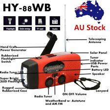 Emergency Hand Crank Generator Solar AM/FM/WB Radio Flashlight Charger OK