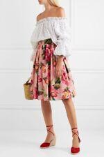 DOLCE & GABBANA NEW $900 Pink VE Multi Floral Print Pleated Midi Skirt 42/6