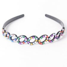 Women Handmade Headband Oval Crystal Rhinestone Plastic Hair Band Accessory Gift