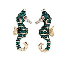 Cool gold and green crystal seahorse stud earrings