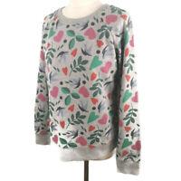 Boden Size Small 10 Grey Multicoloured Round Neck Jumper Sweatshirt Dove Hearts