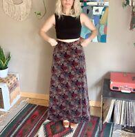 70s vintage women's floral velvet maxi skirt boho hippie prairie small