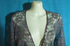 Sussan Green/Bronze Crossover Lace Long Sleeve Gasby Inspired Satin TrimTop Sz L