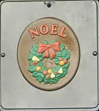FS NEW Christmas 1 Cavity Round NOEL Plaque Chocolate Candy Fondant Plaster Mold