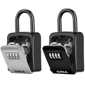 ORIA Outdoor Padlock 4&Digit Combination Key Lock Storage Safe Code Security Box