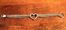 """Sterling Silver Multi-Strand Heart Center Love Bracelet 7.5"""""""