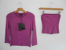 NWT GUESS COLLECTION LAVENDER 2PC  SWEATER CARDIGAN TWINSET W/TUBE TOP SZ S