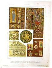Stampa antica LEGATURE SMALTO VETRO in stile BIZANTINO 1920 Old antique print