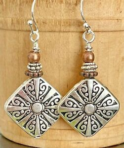 Copper and Etched Silver Dangle Earrings. Boho Chic