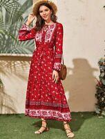 Boho Maxi Dress Size 8 10 S Long Sleeve Gypsy Floral Summer Modest Hippie Muslim
