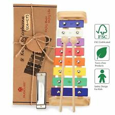Colorful Wooden Xylophone with Harmonica Mallets Kids Toy Gift Music Instrument