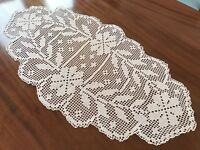 Vintage Large Hand Crochet Pale Pink Table Centre Cloth 32x16 Inches