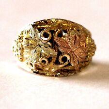 10k yellow rose green gold black hills gold leaf grape ring estate vintage 7.0g