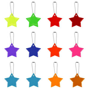 12Pcs Safety Reflector Pendant Star Reflector Pendant For Kids Backpack Cycling