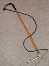 Antique BRIGG LONDON Gents Bamboo Hunting Whip - H/m Silver Collar 1893 & Lash