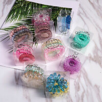 3pcs Elastic Girls Rubber Telephone Wire Hair Ties Plastic Rope Spiral Hairbands