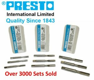 Presto 3 Piece Metric Tap Sets HSS Hand Tap Includes Taper, Second & Plug Taps