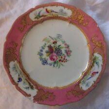 Sevres porcelaine antique plaque fleurs & oiseaux doré rose 1758 24 cm RARE