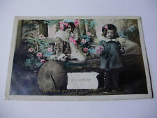 K038 - 1908 Little Girls in Wood HAPPY BIRTHDAY Real Photo POSTCARD