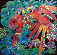"""""""Birds Of Paradise"""" Tie Feng Jiang - Serigraph on Canvas, Extrm. Lim. Etd. Rare"""