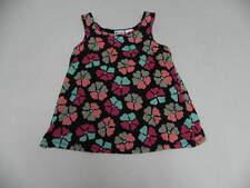 Roxy Kids 5T Medium Sleeveless Layover Floral Pink Black Dots