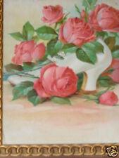 ANTIQUE VICTORIAN FLORAL PINK ROSES WHITE SHOE CHROMO ORIG PRINT FRAME RARE OLD