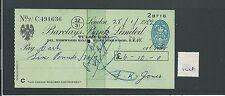 WBC. - ASSEGNO-CH1218-Usato -1952 - BARCLAYS Bank, Tulse HLL, London SE27