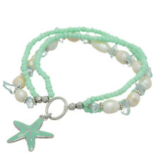 Mint Green Starfish Faux Pearl Blue Bead Beach Sea Multi Strand Stretch Bracelet