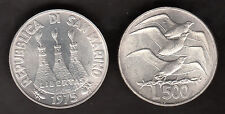 MONETA SAN MARINO LIRE 500 ag 835/.. . ARGENTO GABBIANO GULL BIRD GAVIOTA 1975