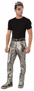 Silver Futurisitic Mens rocker 80s Pants Costume