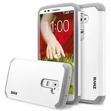 LG G2 Case, Hard Impact Dual Layer Shockproof Bumper Case - White