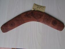 "HAND MADE BOOMERANG WITH AUSTRALIAN NATIVE ART, 12"" LENGTH, SIGNED."