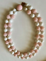 Pretty in Pink Vintage Double Strand Beads On Beads Necklace, Signed JAPAN