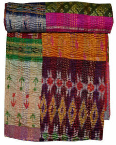 India Multi Colour Print Kantha Quilt Handmade Queen Size Hademade Throw Blanket
