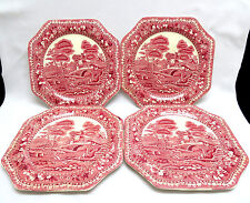 4 Pc Midwinter England Pink Red OLD CASTLE Octagonal Square Salad Dessert Plates