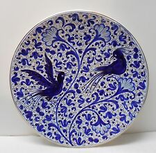 Large Footed Plate 24K Gold Accent Birds and Designs Blue and White Faenza Italy