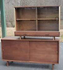 MCM 1950's JAMES-PHILIP Co 2-pc TEAK WOOD BUFFET SLIDING GLASS - PICK UP ONLY TN