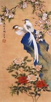 HANDPAINTED ORIGINAL ASIAN ART CHINESE WATERCOLOR PAINTING-Birds lover&Flowers