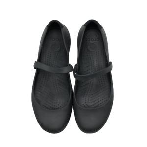 Crocs Womens Mary Jane Rubber Comfort Sandals Shoes Flats Strap Black 10