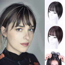 US-Handmade Straight 100%Human Hair Clip in Topper Hairpiece With Flat Bang Hair