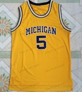 Jalen Rose #5 Michigan Wolverines University Basketball Jersey Men's Sewn Yellow