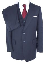 Vintage Cricketeer Men's 3-Piece Suit Us 38L* Navy Blue Pinstripe 2-Btn Flat