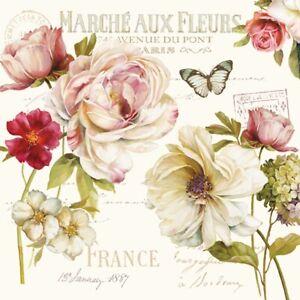 Servietten 20, Serviettentechnik Marche aux Fleurs Rosen, Easy Life 33 x 33